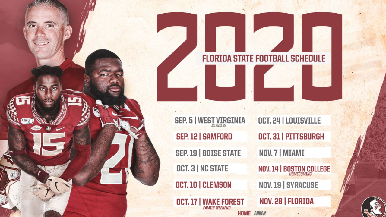 florida state 2020 football schedule