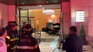 Car smashes into lobby of Trump Plaza in New York