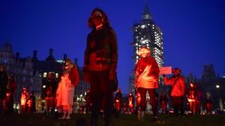 Virus Outbreak Britain Protest