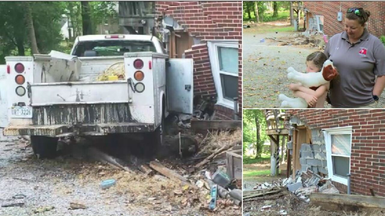 Truck slams into Chester home, mother and daughter unharmed