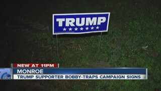 Cat poop used to protect Trump lawn signs