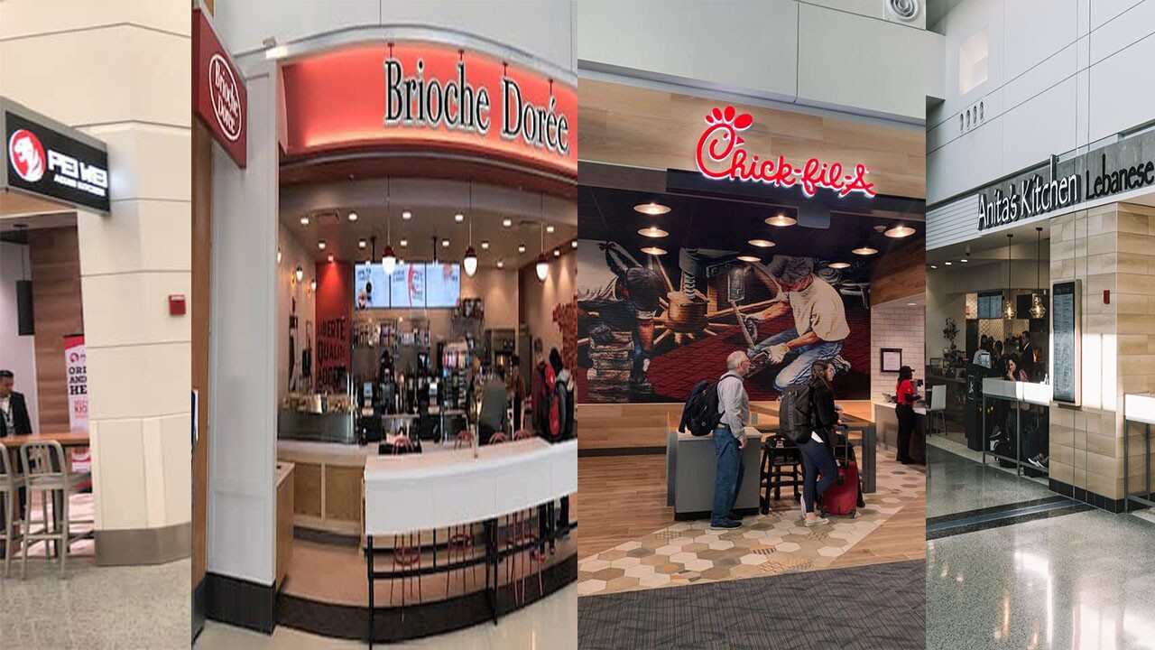 These are the new dining options available in the North Terminal at Detroit Metropolitan Wayne County Airport.