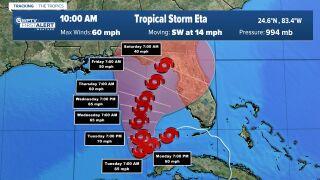 Tropical Storm Eta 10 a.m. Monday cone