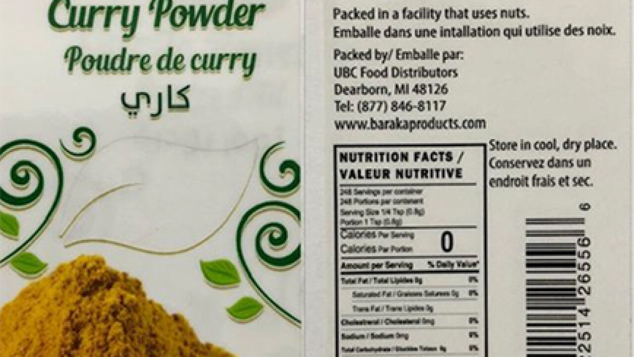 Curry powder recalled due to lead hazard