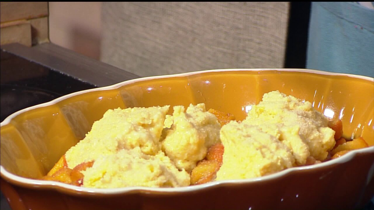 'Shaynefully Delicious' Cornbread PeachCobbler