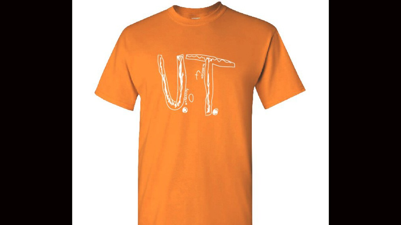 """A boy's homemade """"U.T."""" design is being turned into an official University of Tennessee T-shirt."""