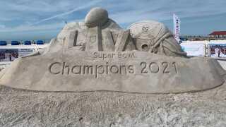 Super bowl sand sculpture