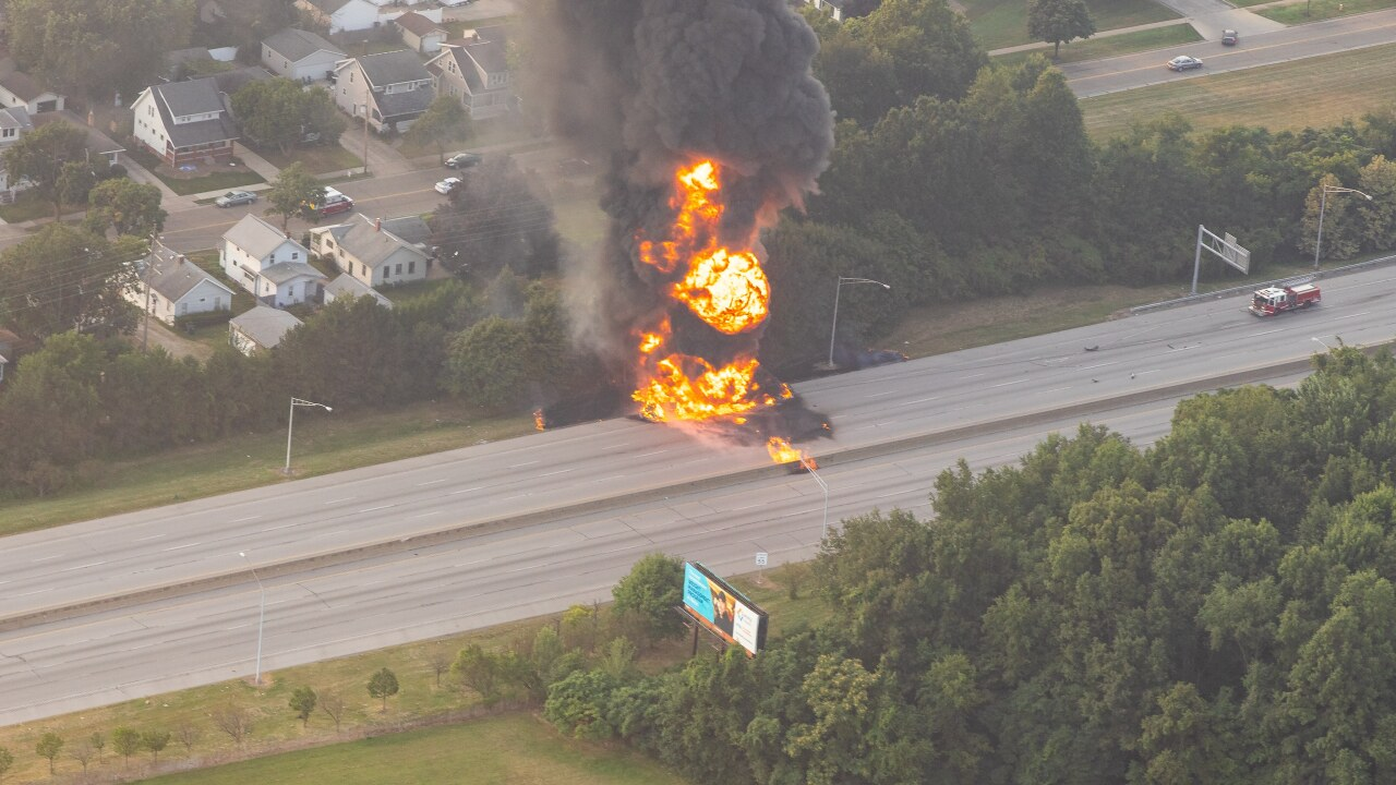 Vehicle fire has closed Route 8 in both directions in Akron.