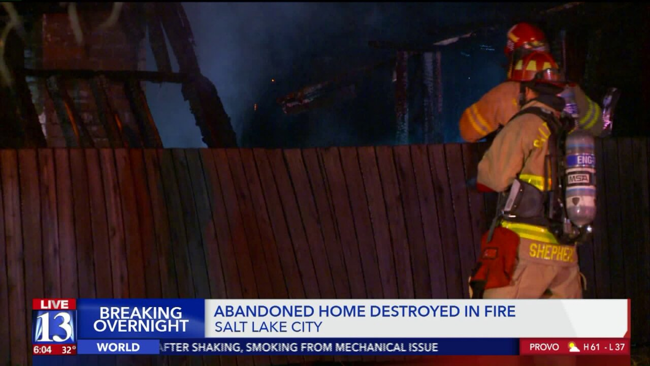Fire destroys vacant home in Salt Lake City