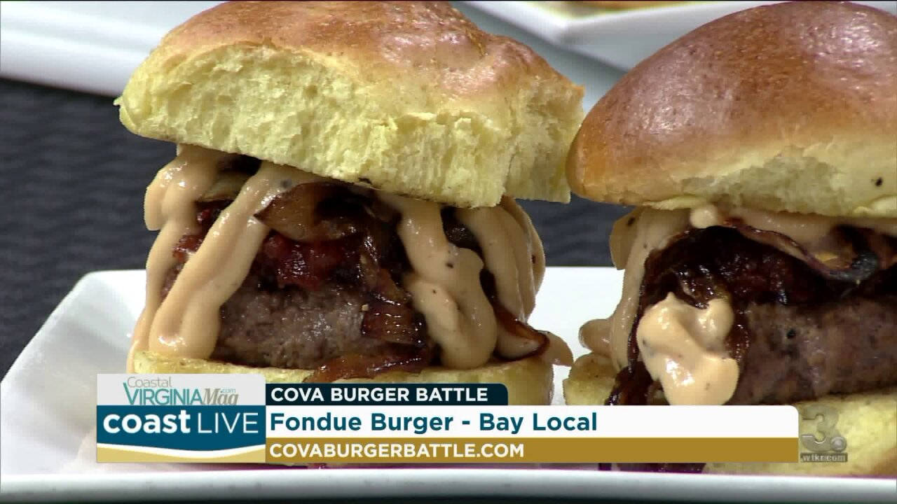Crafting a delicious fondue burger before the big burger battle on Coast Live