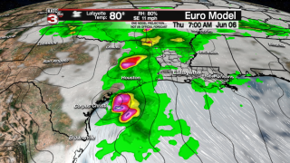 Active weather involving tropical disturbance mid-late week