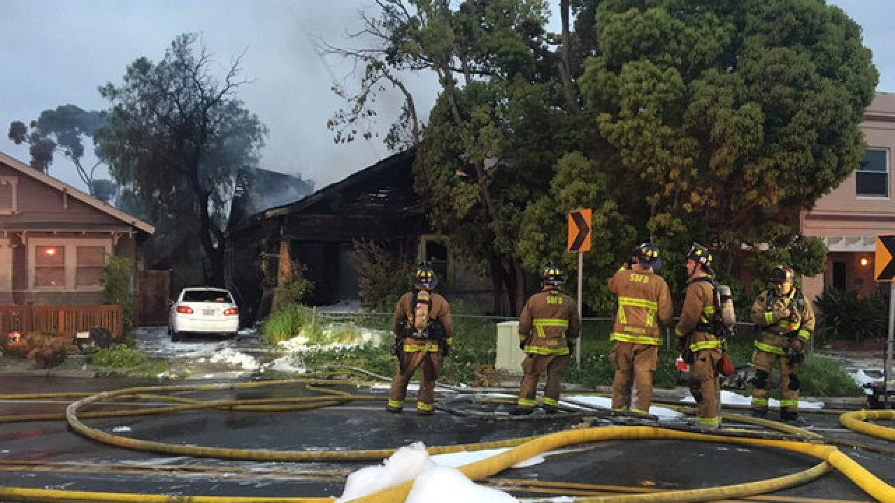 Fire erupts at home in Mission Hills area