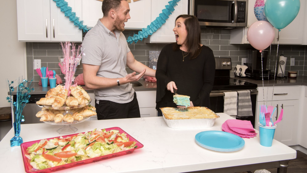 Gender Reveal Lasagna From Villa Italian Kitchen Gives Parents To Be