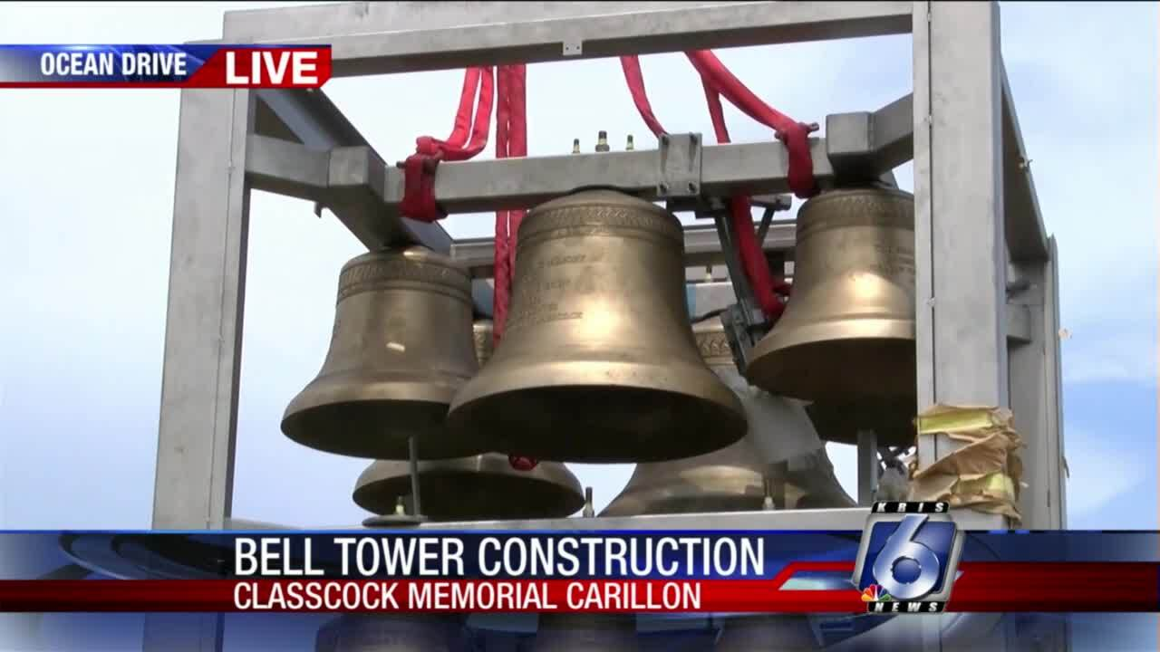 First Baptist Church bell tower installed today
