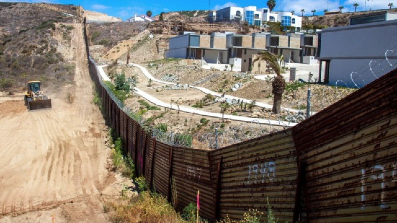 Border wall under construction in San Diego