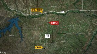 1 person dead, 2 injured in crash south of Wolf Point