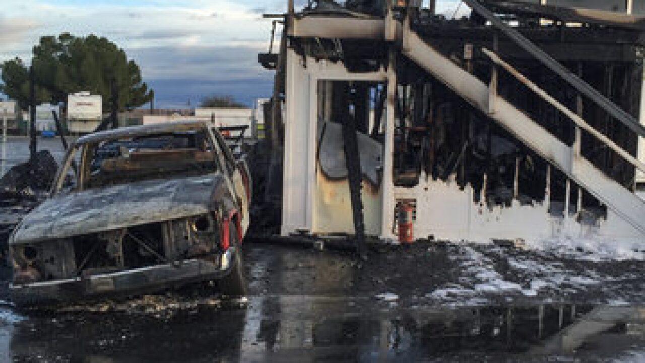 Fire destroys building at Famoso Raceway