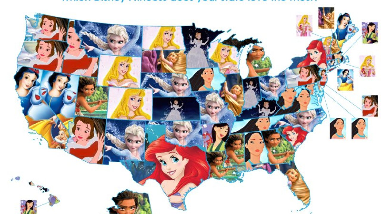 The most-loved Disney princess in eachstate