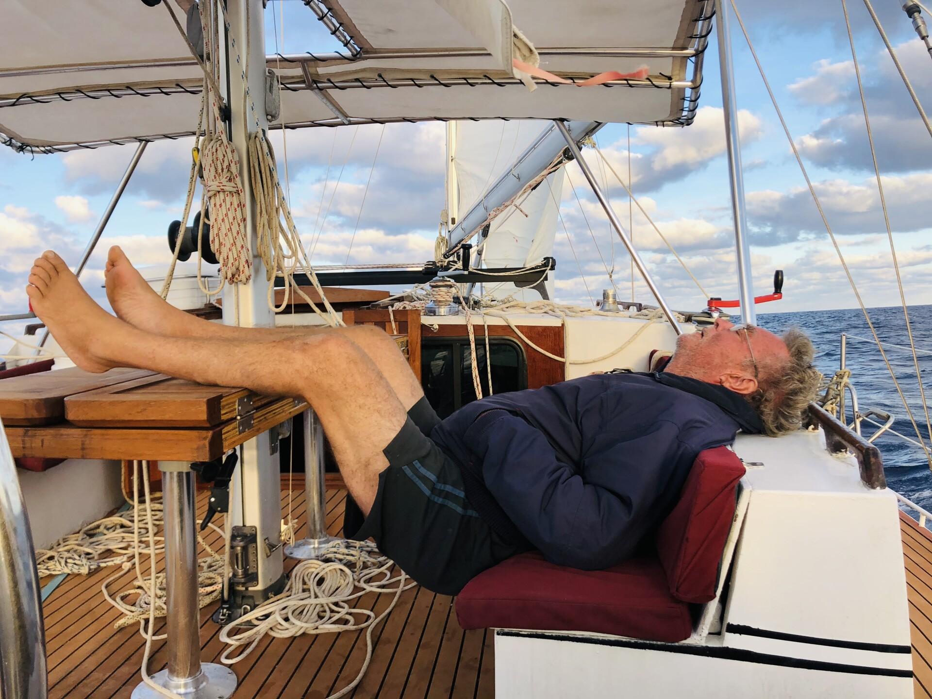 Sven Karrlson sleeps on sailboat