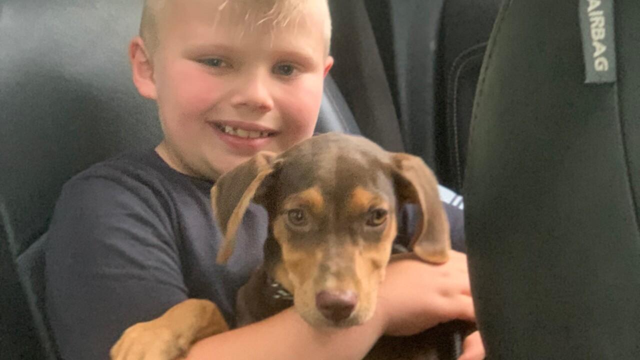 Braxton Kinsey with service dog