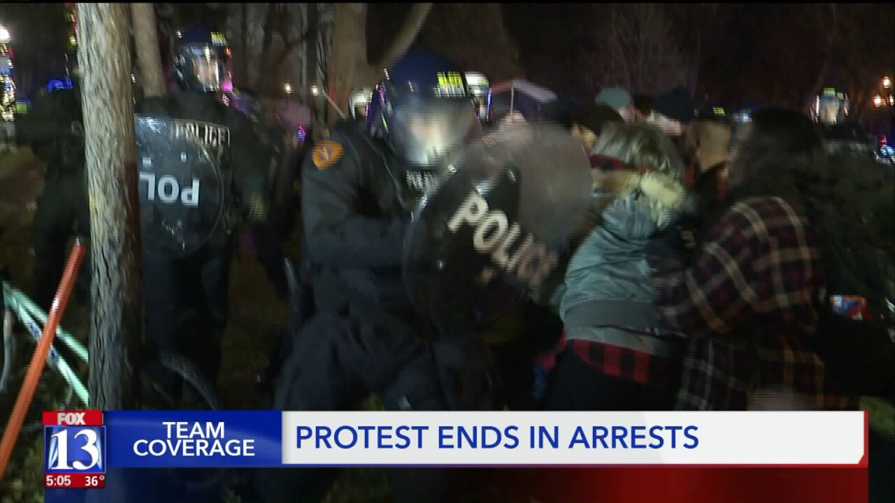 At least 16 arrested after clash between SLC Police and protesters at homeless camp