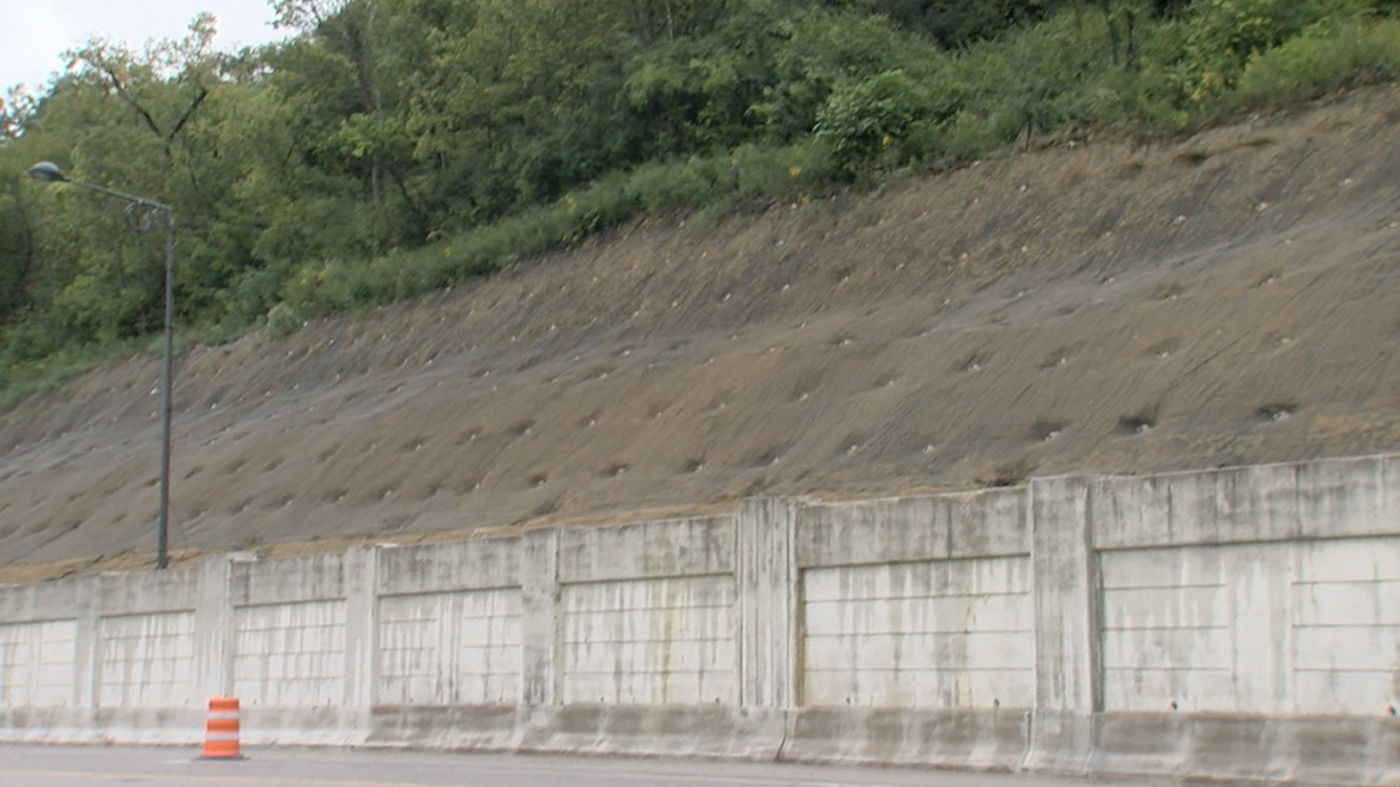 Ground nails and mesh netting stabilize the hillside above Columbia Parkway.