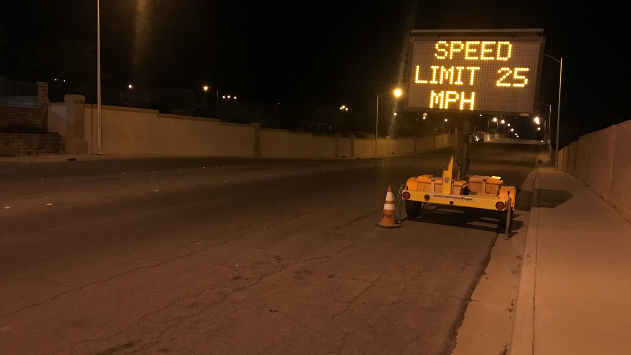 There's a new sign warning drivers of their speed on a notorious stretch of Los Feliz Street near Lake Mead.