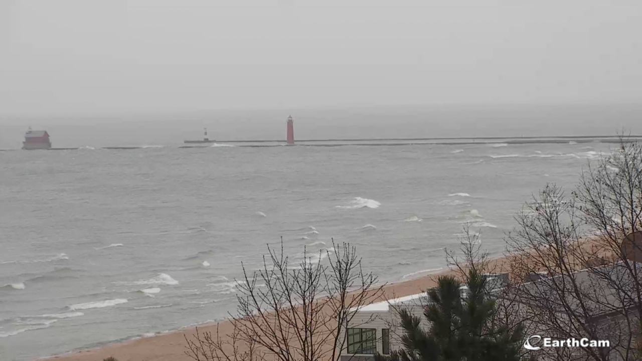 Grand Haven pier high winds lake michigan