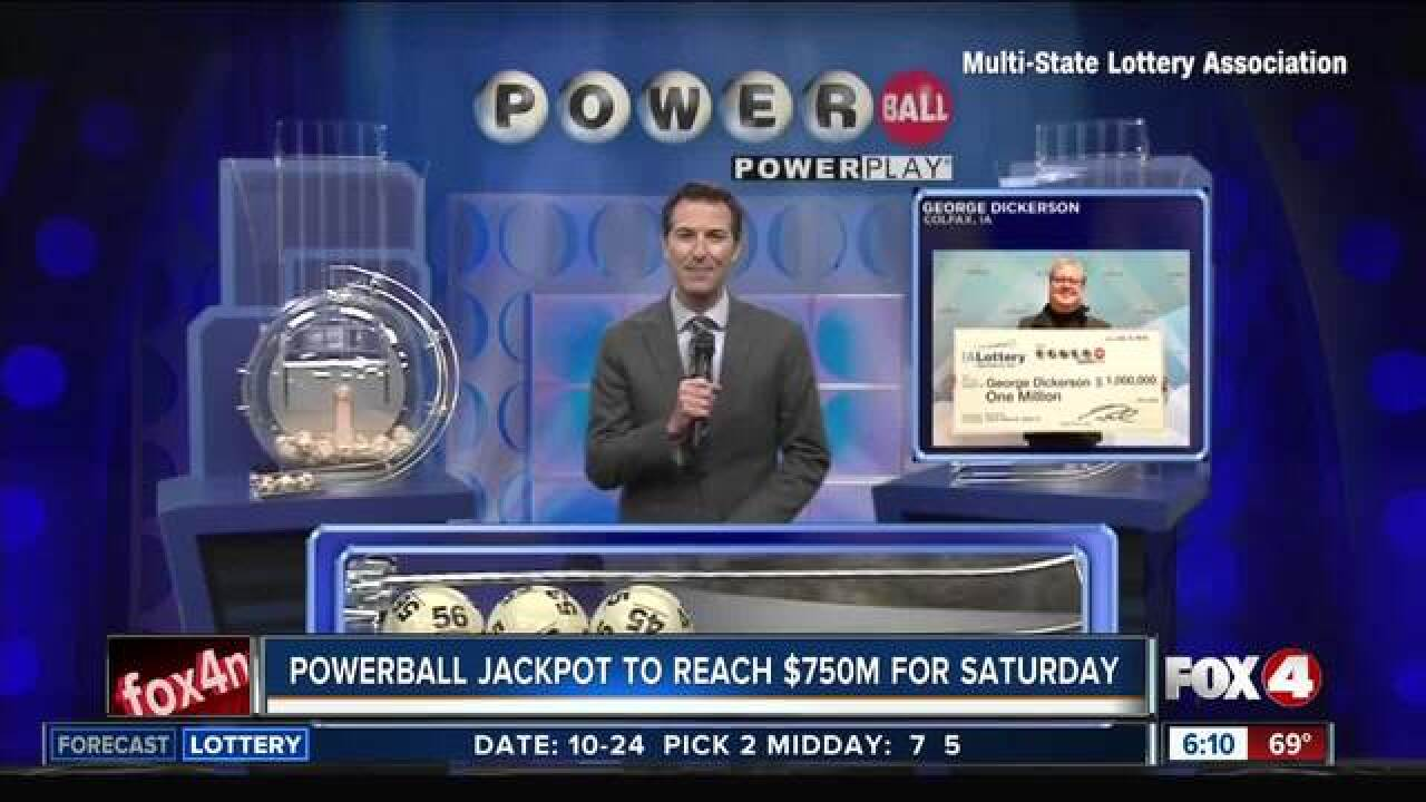 Numbers drawn for $620 million Powerball jackpot