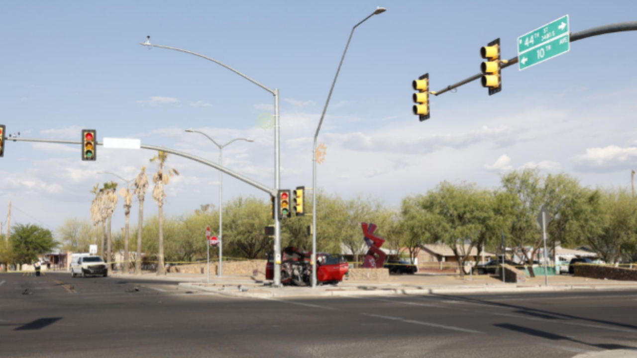 A 47-year-old man died in a single-vehicle Wednesday crash at 12th Avenue and 44th Street. Photo via Tucson police.