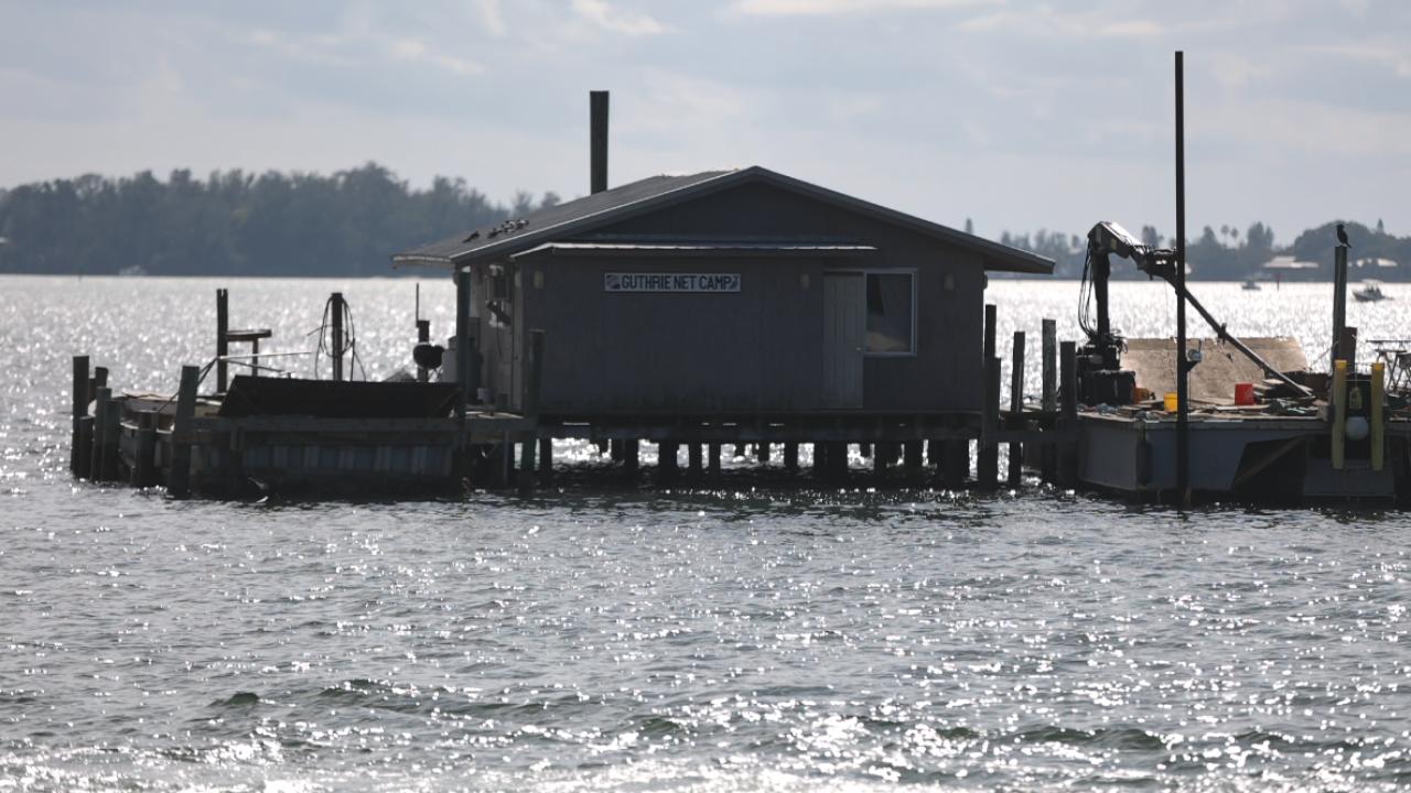Guthrie net camp in Sarasota Bay.