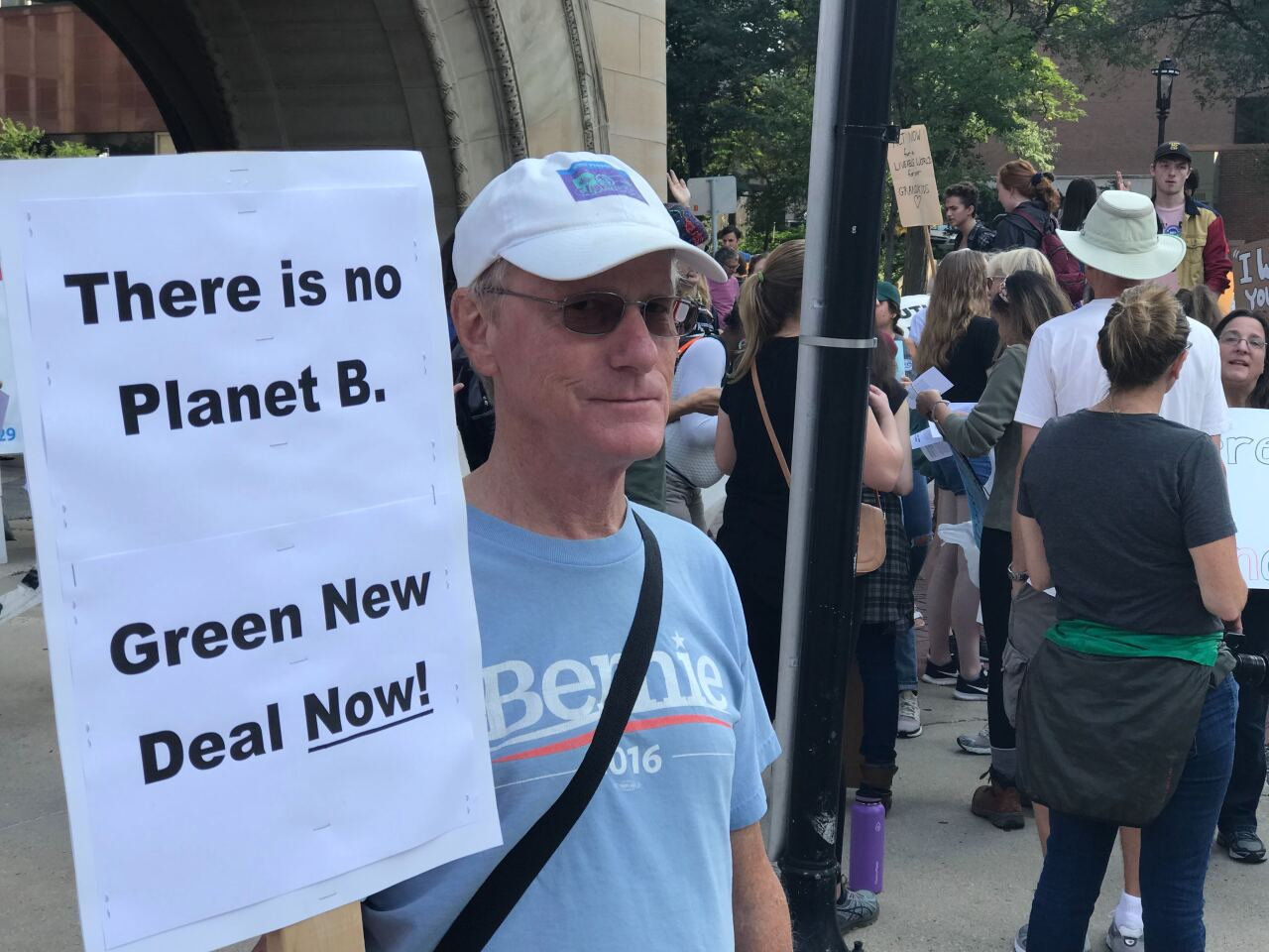 Sanders supporter at climate change protest in Milwaukee