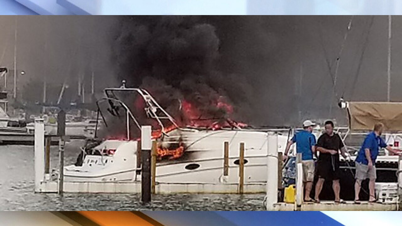 Fire boat fights boat fire at Edgewater
