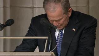 George W. Bush delivers emotional eulogy to father, remembers late mother and sister