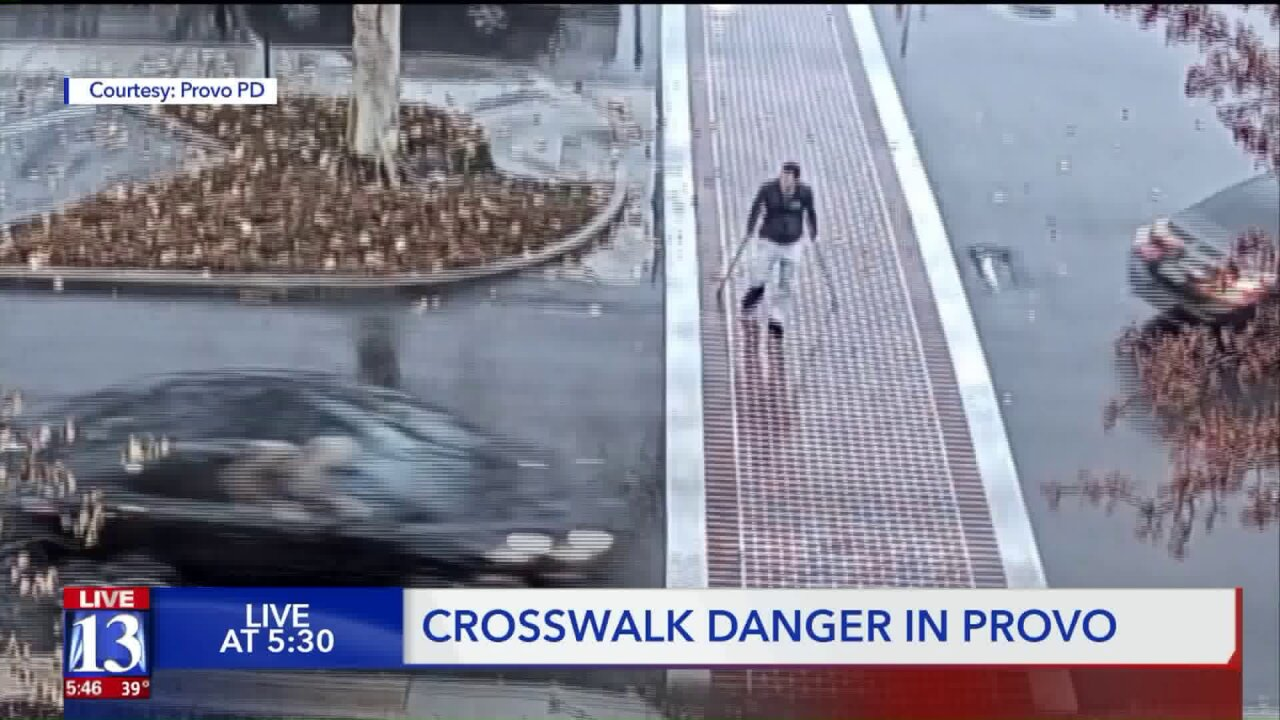 Provo crosswalk dangers, man on crutches nearly struck