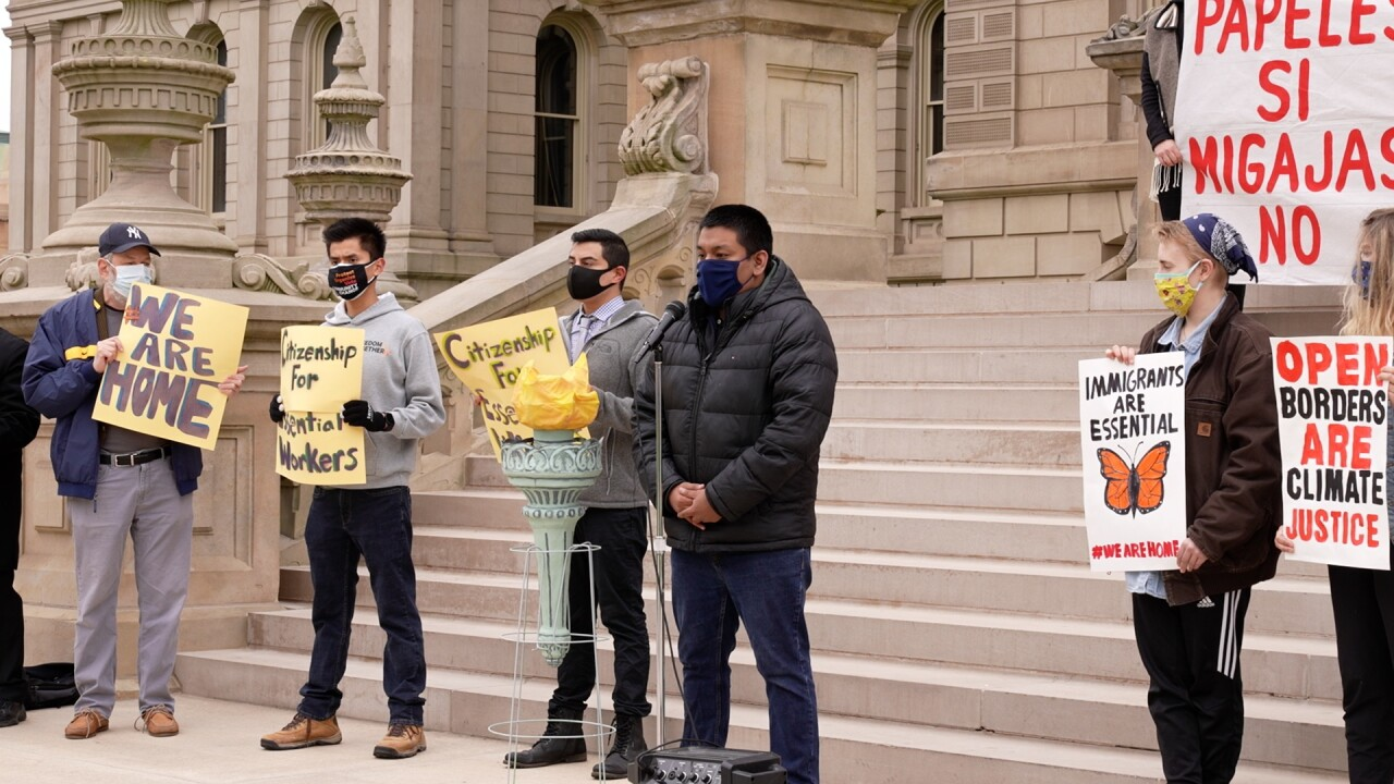 Stuart Inahuazo, an immigration rights organizer with Michigan United, urges government officials to extend COVID-19 relief to undocumented immigrants.