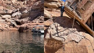 Low water level on Lake Powell reveals surprise