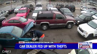 Thefts caught on camera frustrate local cardealer