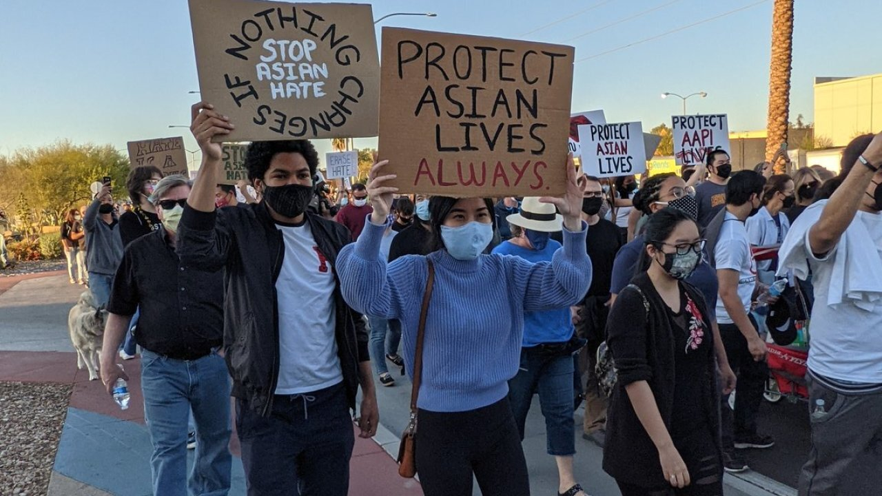 Hundreds of people took to the streets at two different rallies in the Phoenix area to protest violence against people of Asian descent and show solidarity with the Asian community.