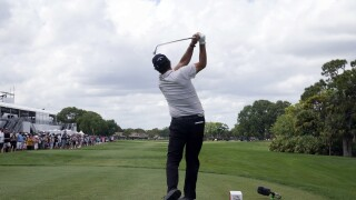Phil Mickelson hits from 11th tee during third round of 2021 Honda Classic