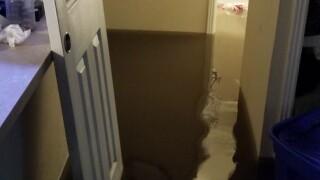 Apartments damaged in flash flood