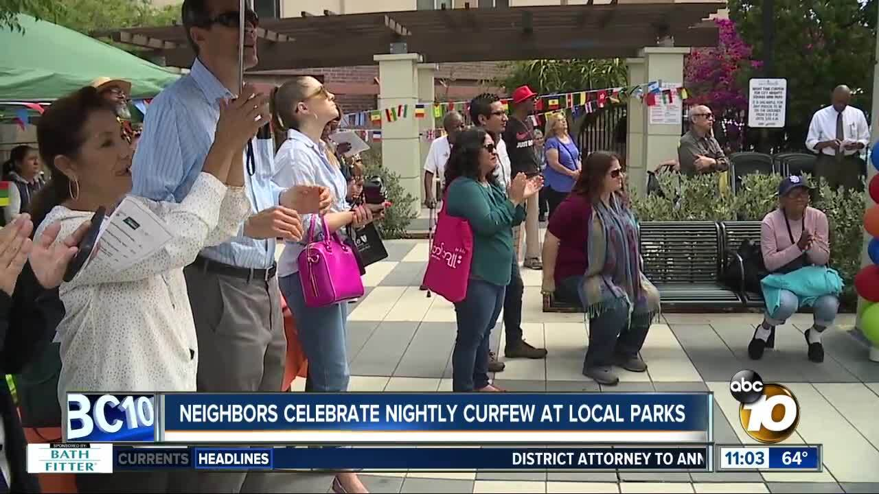Neighbors celebrate nightly curfew at local parks