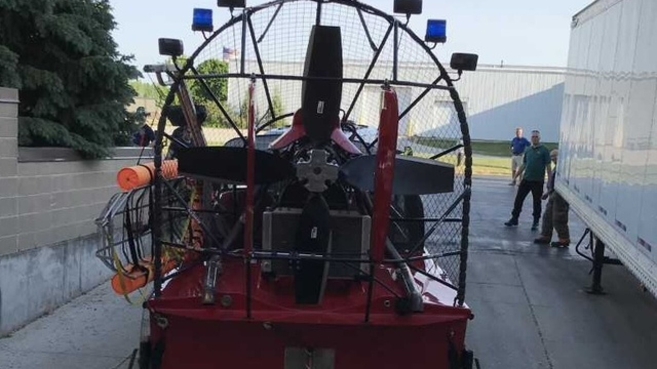 De Pere Fire uses air boat to help with smoke