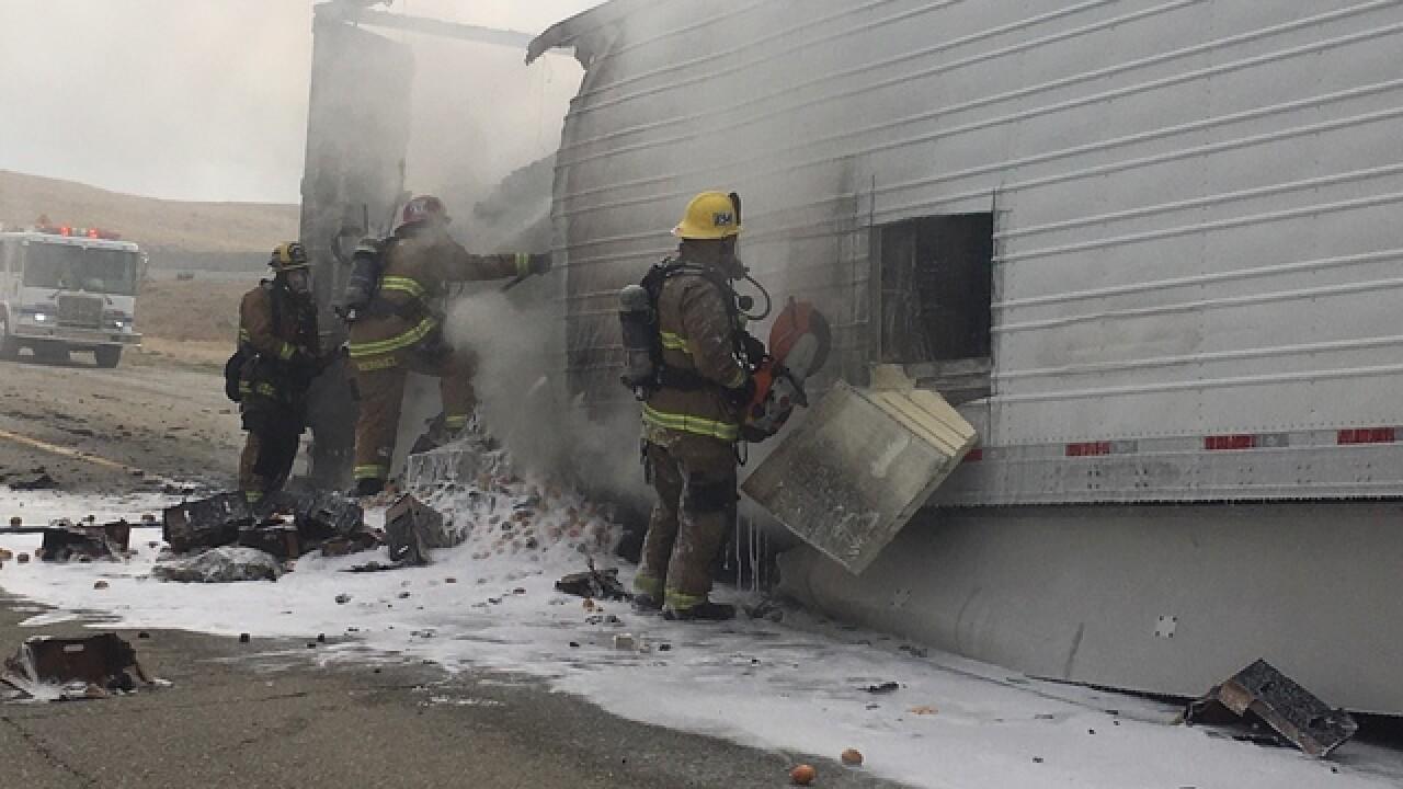 KCFD battles semi truck fire on Hwy 58
