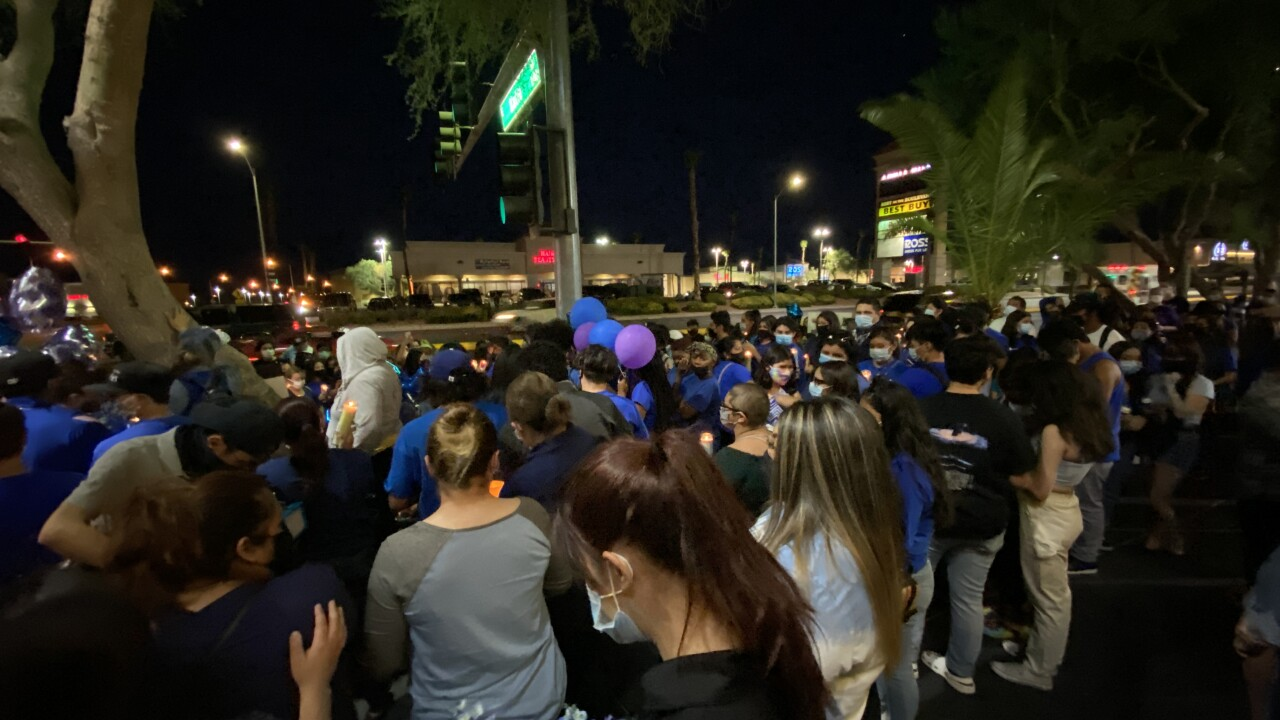Hundreds of people showed to up Friday, Aug. 7, 2020, to remember two 16 year old girls who were killed in a crash.