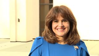 Annette Taddeo smiles while announcing run for governor, Oct. 18, 2021