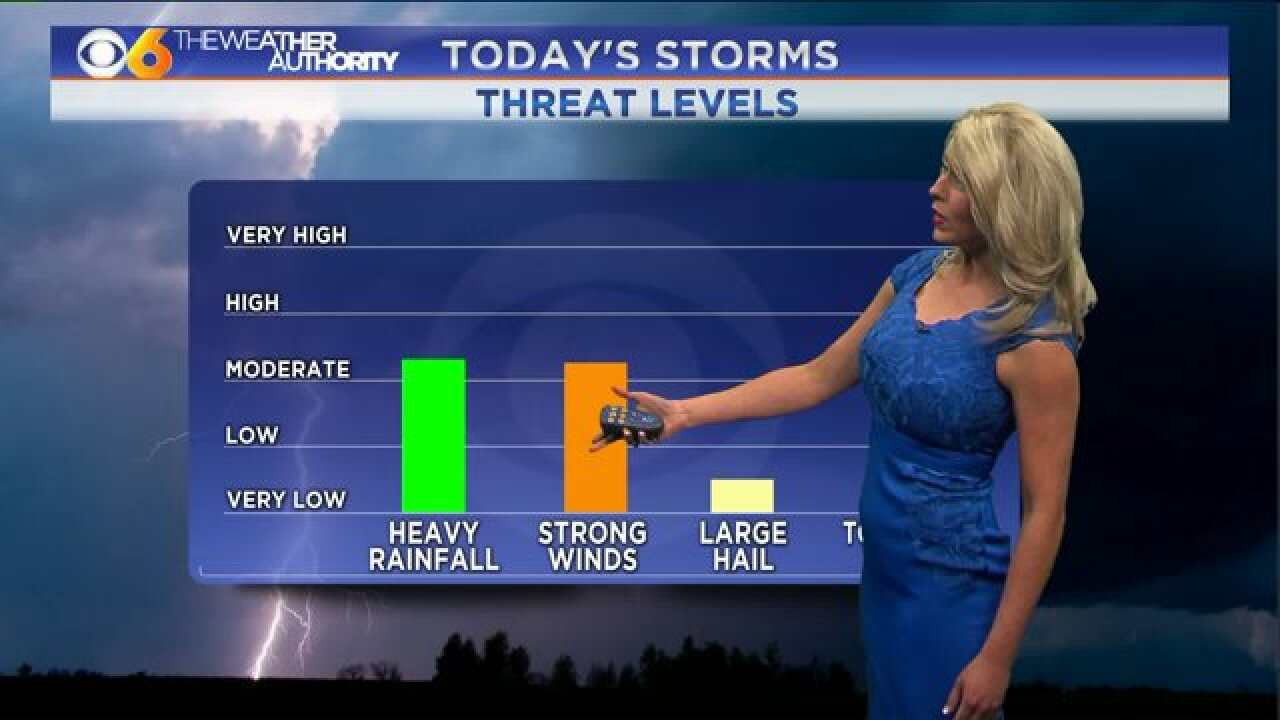 Afternoon and evening thunderstorms possibleWednesday