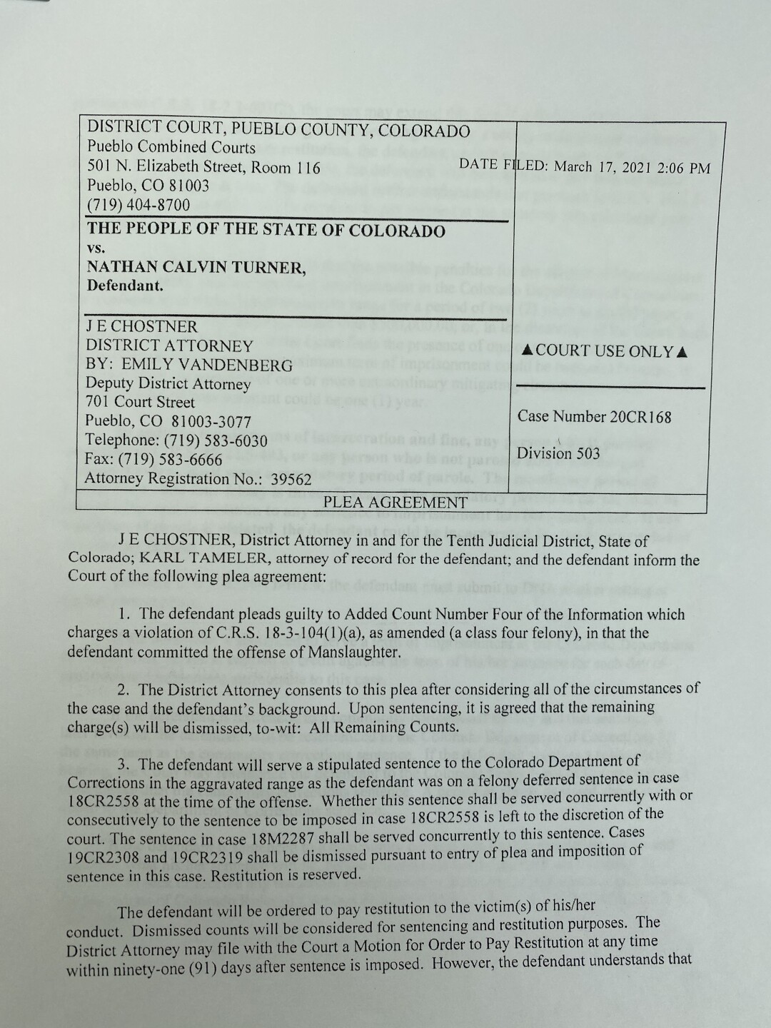 Nathan Turner Plea - page one