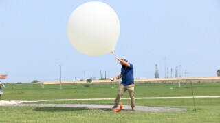 Weather balloon about to be released at NWS - Corpus Christi