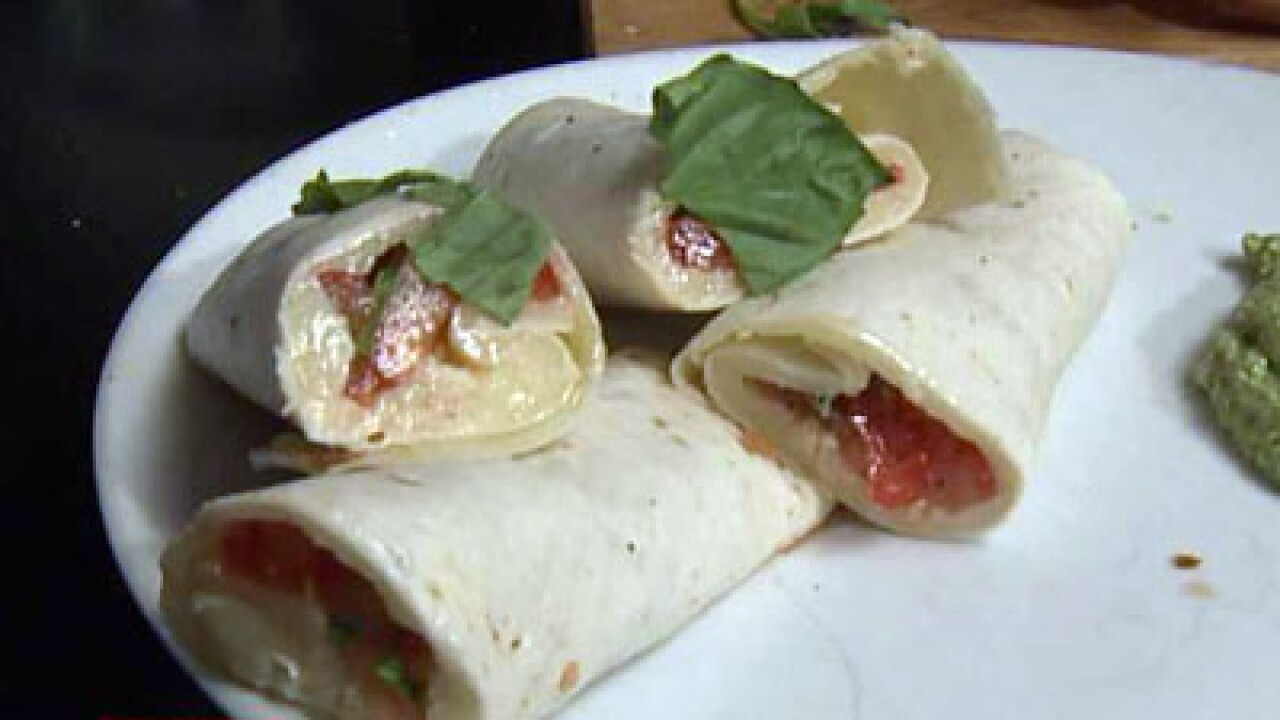 Warm Caprese Salad Wraps with a Creamy Pesto Dipping Sauce (10.18.12)